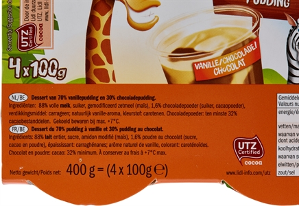 MILBONA (LIDL) Safari Pudding Vanille/chocolade